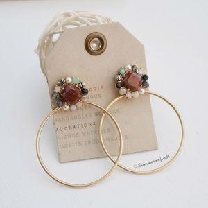 Anthropologie Stone Beads Hoop Drop Earrings